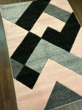 NEW RANGE WOVEN RUG HAND CARVED APROX 6X4FT 120X170CM GREY-BLUSH PINK GREAT RUGS